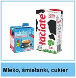 Mleko, śmietanki, cukier
